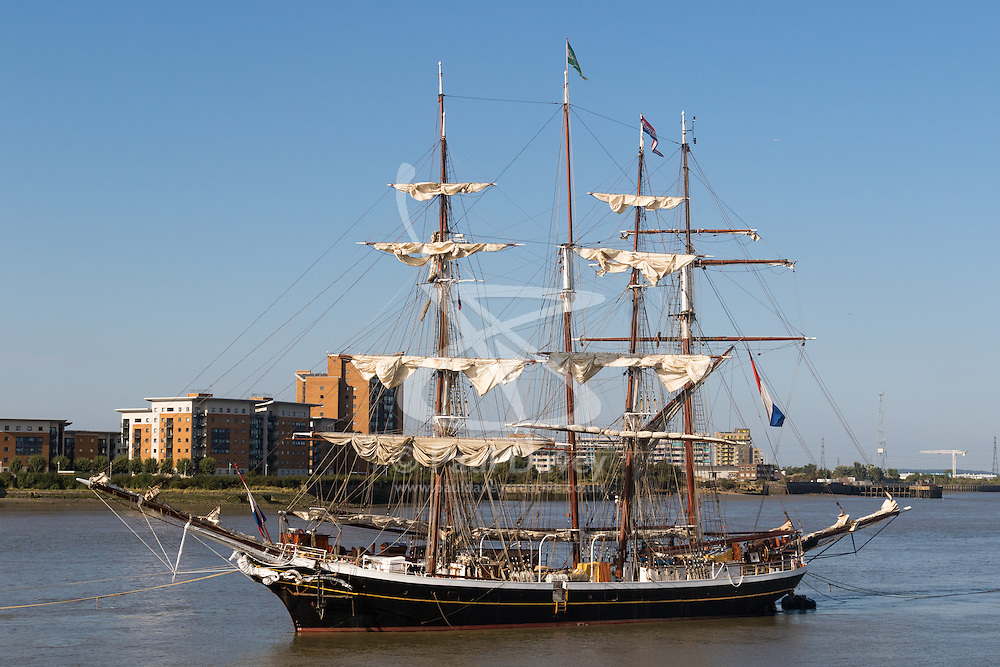 Woolwich, London, September 14th 2016. The afternoon sun illuminates the furled sails on a tall ship, one of several moored on the River Thames at Woolwich for the Sail Greenwich Festival 2016. ©Paul Davey<br /> FOR LICENCING CONTACT: Paul Davey +44 (0) 7966 016 296 paul@pauldaveycreative.co.uk