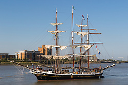 Woolwich, London, September 14th 2016. The afternoon sun illuminates the furled sails on a tall ship, one of several moored on the River Thames at Woolwich for the Sail Greenwich Festival 2016. &copy;Paul Davey<br /> FOR LICENCING CONTACT: Paul Davey +44 (0) 7966 016 296 paul@pauldaveycreative.co.uk