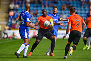 Southend United forward Marc-Antoine Fortune (9) under pressure during the EFL Sky Bet League 1 match between Gillingham and Southend United at the MEMS Priestfield Stadium, Gillingham, England on 26 August 2017. Photo by Martin Cole.