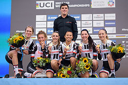 (L to R) Ellen van Dijk, Floortje Mackaij, Lucinda Brand, Coryn Rivera, Sabrina Stultiens, Leah Kirchmann, Hans Timmerman behind at UCI Road World Championships Women's Team Time Trial 2017 a 42.5 km team time trial in Bergen, Norway on September 17, 2017. (Photo by Sean Robinson/Velofocus)