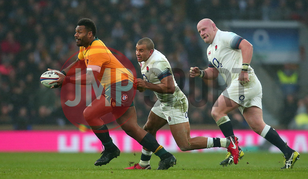 Samu Kerevi of Australia is tackled by Jonathan Joseph of England - Mandatory by-line: Robbie Stephenson/JMP - 18/11/2017 - RUGBY - Twickenham Stadium - London, England - England v Australia - Old Mutual Wealth Series