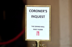 Pictured is a Coroner's Inquest sign outside of  Gravesend Old Town Hall, Kent, UK. <br /> Inquest into the death of Peaches Geldof at Gravesend Old Town Hall, Kent, UK. <br /> Thursday, 1st May 2014. Picture by Ben Stevens / i-Images<br /> File photo - Peaches Geldof  died of heroin overdose coroner rules today Wednesday 23rd July 2014.