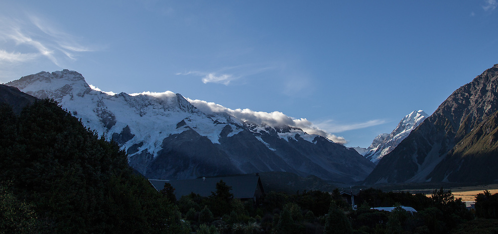 Looking up the Hooker Valley to Mt Cook from the village