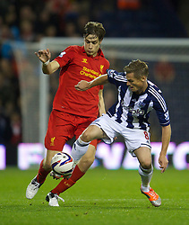 26.09.2012, The Hawthorns, West Bromwich, ENG, Capital One Cup, West Bromwich Albion vs FC Liverpool, im Bild Liverpool's Sebastian Coates in action against West Bromwich Albion's Markus Rosenberg during the 3rd Round Match of Capital One Cup between West Bromwich Albion vs Liverpool FC at the Hawthorns, West Bromwich, United Kingdom on 2012/09/26. EXPA Pictures © 2012, PhotoCredit: EXPA/ Propagandaphoto/ David Rawcliff..***** ATTENTION - OUT OF ENG, GBR, UK *****