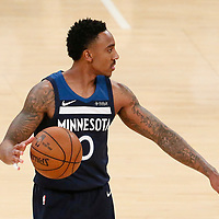25 December 2017: Minnesota Timberwolves guard Jeff Teague (0) sets the offense during the Minnesota Timberwolves 121-104 victory over the LA Lakers, at the Staples Center, Los Angeles, California, USA.
