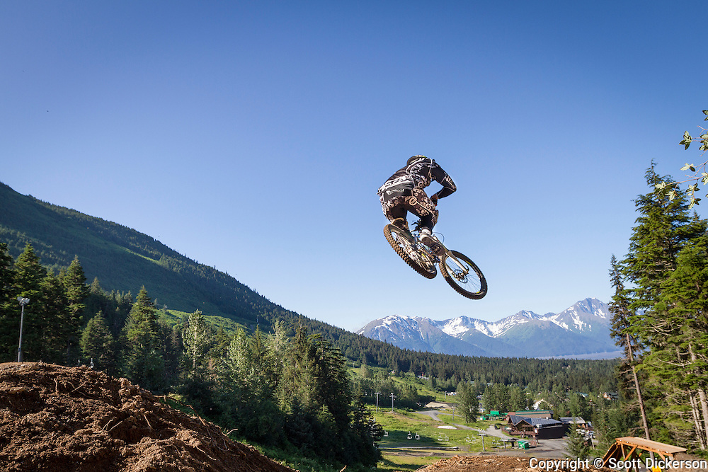 Downhill Mountain Biking at Alyeska Resort, Girdwood, Alaska.