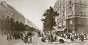 Franco-Prussian War 1870-1871:   Queues outside a Paris grocery shop, 1870.