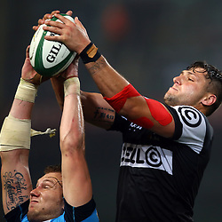 DURBAN, SOUTH AFRICA - AUGUST 27: Ruan Botha of the Cell C Sharks out jumps RG Snyman of the Vodacom Blue Bulls during the Currie Cup match between Cell C Sharks XV and Vodacom Blue Bulls at Growthpoint Kings Park on August  27, 2016 in Durban, South Africa. (Photo by Steve Haag/Gallo Images)