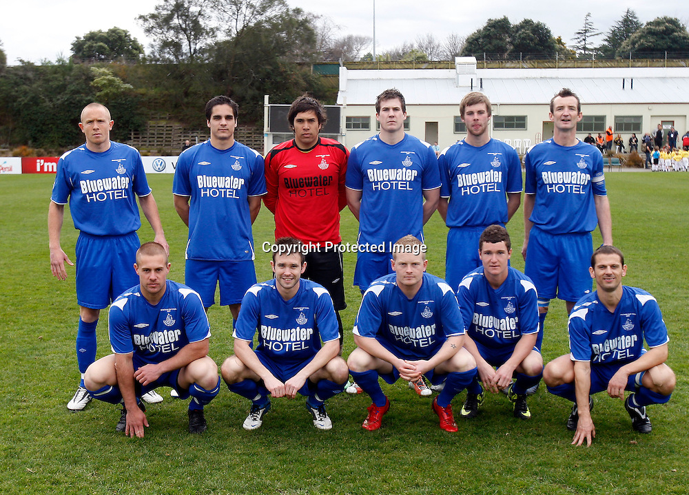 Napier City Rovers team line up. 84th ASB Chatham Cup Final, Napier City Rovers v Wairarapa United, Memorial Park Palmerston North, Sunday 28th August 2011. Photo: Shane Wenzlick