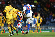 Danny Graham of Blackburn Rovers scores the third goal during the Sky Bet Championship match between Blackburn Rovers and Fulham at Ewood Park, Blackburn, England on 16 February 2016. Photo by Simon Brady.