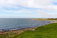Norway, Rogaland, Obrestad. View from Obrestad Lighthouse to Hå gamle prestegård.