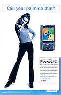 Microsoft Pocket PC ad. Young woman pointing at viewer.