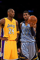 06 November 2009: Guard Kobe Bryant of the Los Angeles Lakers and OJ Mayo of the Memphis Grizzles speak during the first half of the Lakers 114-98 victory over the Grizzles at the STAPLES Center in Los Angeles, CA.