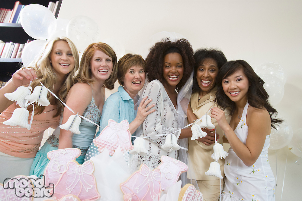 Group of women posing at bridal shower