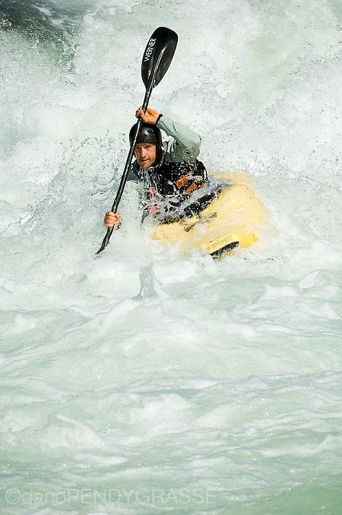 whitewater kayaking in the cheakamus river near Squamish, BC.