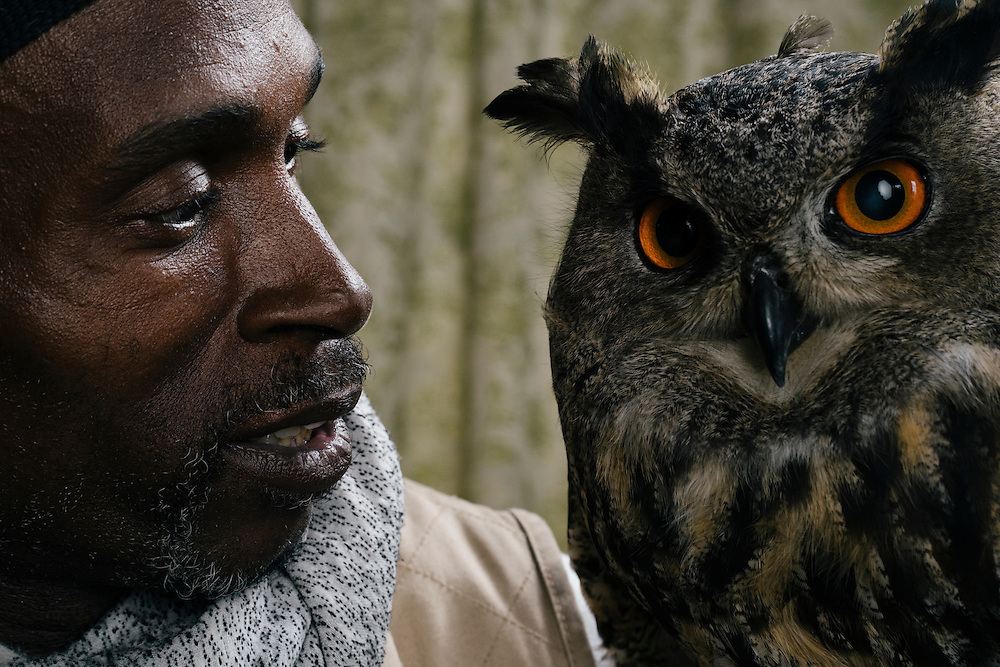 Rodney Stotts sits with his Eurasian Eagle Owl, Hoots, at the Wings Over America raptor sanctuary in Maryland on March 17, 2016.