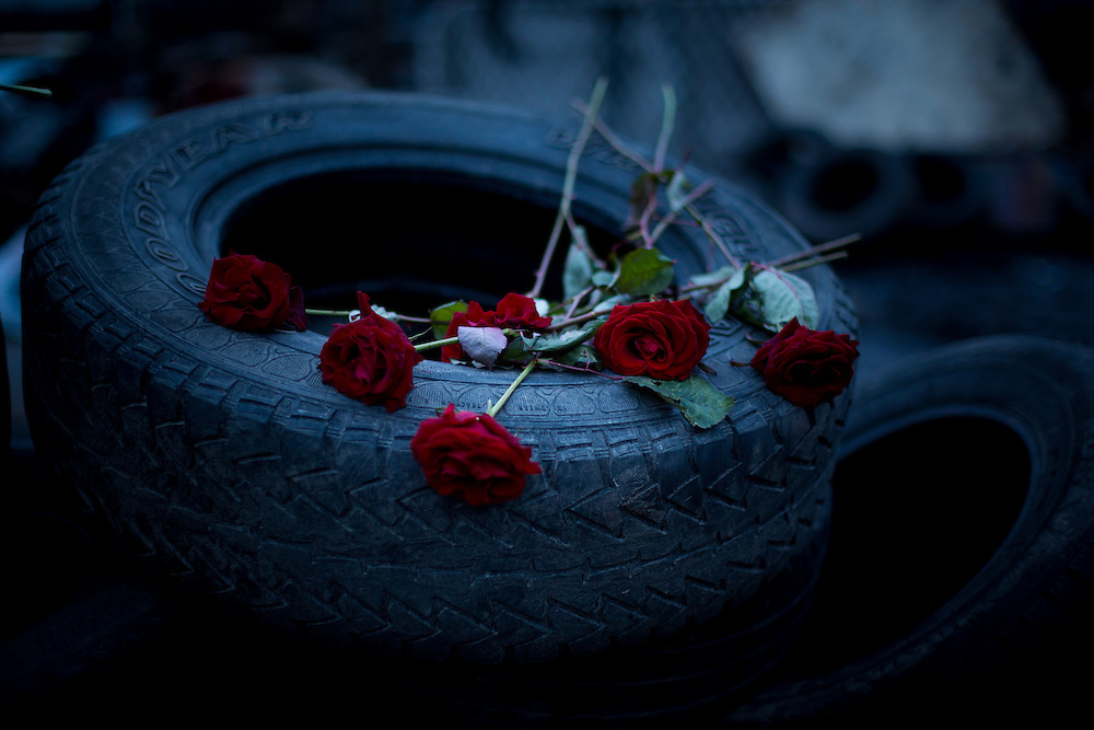 "A small improvised memorial to the ""heroes of Maïdan"", made of red roses on a pile of tires, on the Independance Square, in Kiev."