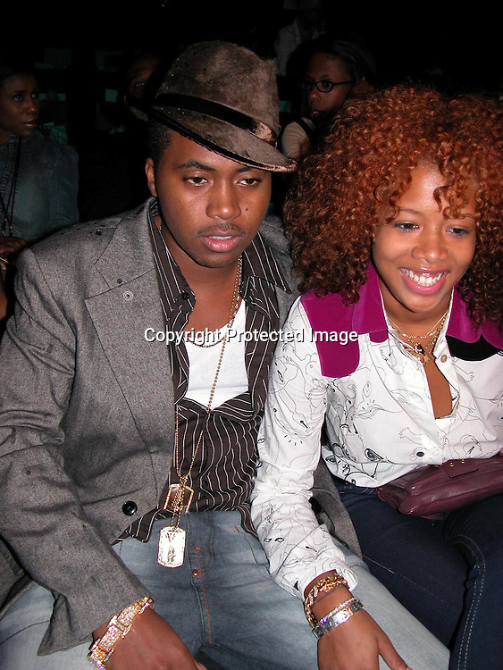 Nas &amp; Kellis<br />Baby Phat Fashion Show Front Row &amp; backstage<br />Gertrude Tent, Bryant Park<br />New York City, NY, USA<br />Saturday, September, 13, 2003 <br />Photo By Celebrityvibe.com/Photovibe.com