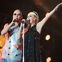 The Human League in concert at Rewind Scotland, Scone Place, Perth, Scotland