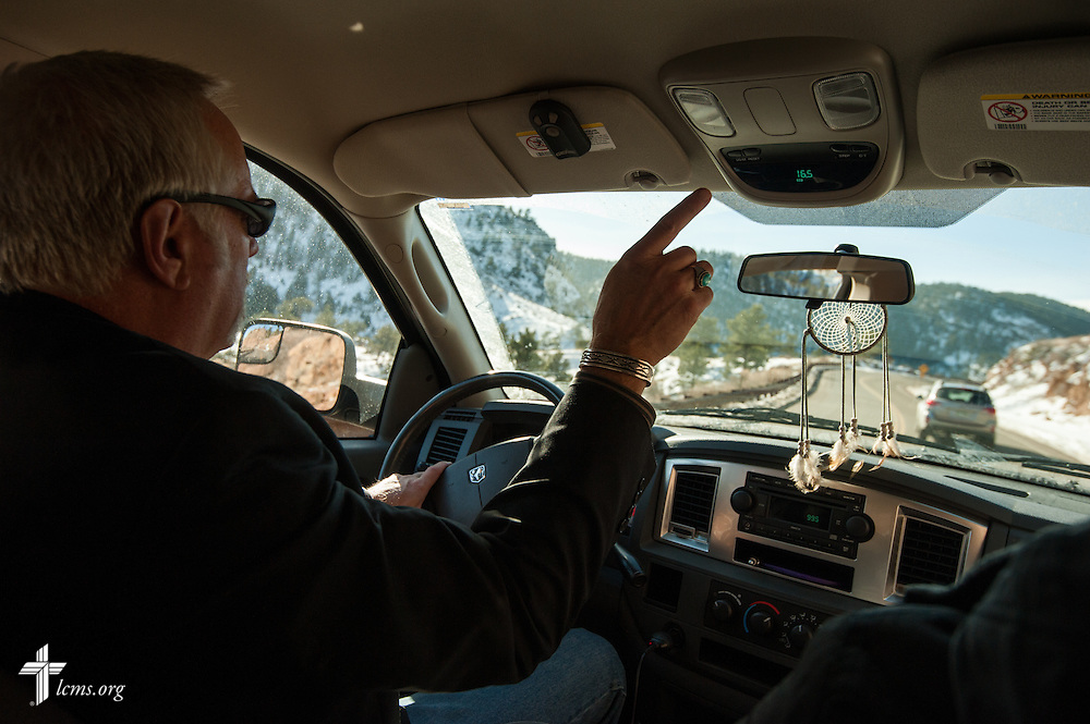 The Rev. Paul Rhode of Eternal Savior Lutheran Church drives with the Rev. Michael W. Meyer, manager of LCMS Disaster Response (not pictured), to a flood-damaged home on Wednesday, Jan. 8, 2014, near Pinewood Springs, Colo. LCMS Communications/Erik M. Lunsford