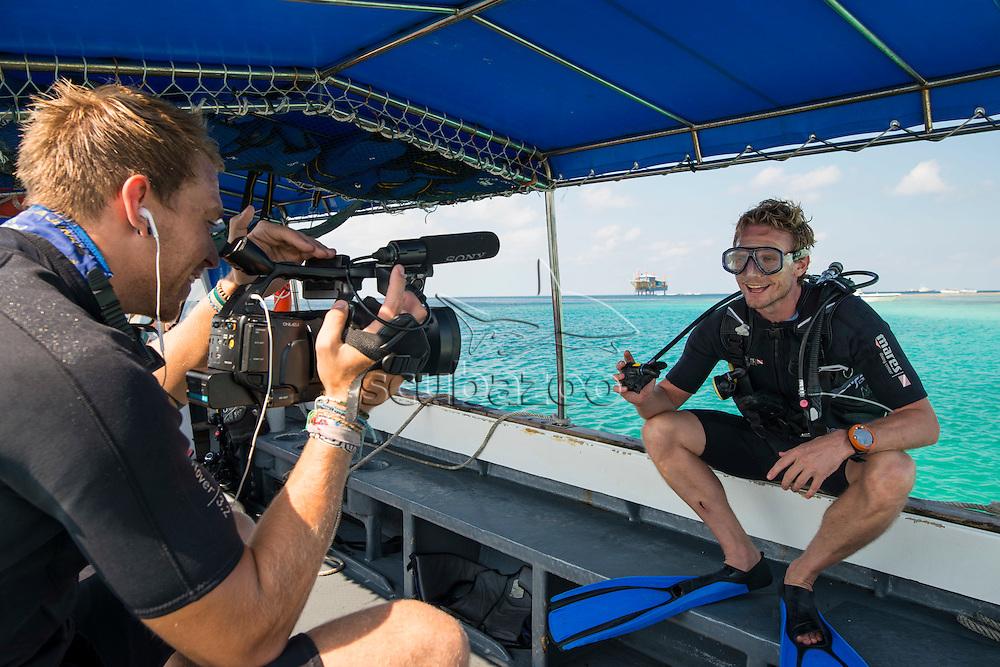 Behind the scenes on a production, Mabul, Sabah, Malaysia, Borneo, Celebes Sea,