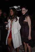 Jade Jagger and Dita von Teese. The Moet & Chandon Fashion Tribute 2005 to Matthew Williamson,  Old Billingsgate market, London. 16th February 2005. ONE TIME USE ONLY - DO NOT ARCHIVE  © Copyright Photograph by Dafydd Jones 66 Stockwell Park Rd. London SW9 0DA Tel 020 7733 0108 www.dafjones.com