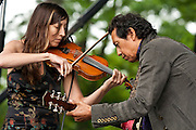 Alejandro Escovedo with Susan Voelz on Violin at Clearwater Festival, Croton-on-Hudson, NY 6/20/09