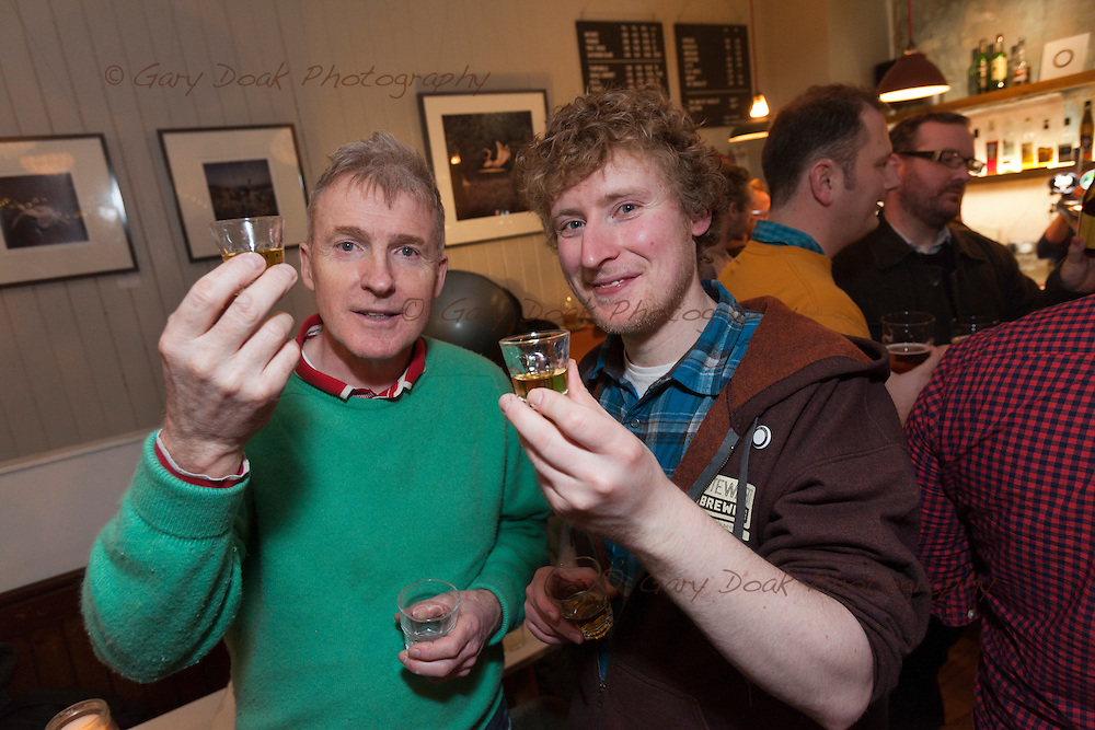Gluten-free beer at Skylark, Portobello<br /> Staff and customers enjoy a range of gluten-free beers.<br /> <br /> Edinburgh, Feb 2016<br /> Picture by Gary Doak