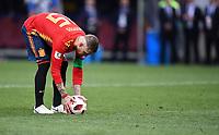 FUSSBALL  WM 2018  Achtelfinale ---- Spanien - Russland       01.07.2018 Sergio Ramos (Spanien) legt sich den Ball zum Elfmeter zurecht