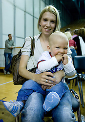 Anja Vilfan - Ilievski, wife of Vlado Ilievski, with their second son at third finals basketball match of Slovenian Men UPC League between KK Union Olimpija and KK Helios Domzale, on June 2, 2009, in Arena Tivoli, Ljubljana, Slovenia. Union Olimpija won 69:58 and became Slovenian National Champion for the season 2008/2009. (Photo by Vid Ponikvar / Sportida)