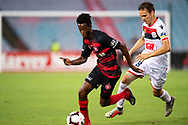 SYDNEY, NSW - JANUARY 18: Western Sydney Wanderers forward Bruce Kamau (11) gets away from Adelaide United midfielder Isaias (8) at the Hyundai A-League Round 14 soccer match between Western Sydney Wanderers and Adelaide United at ANZ Stadium in NSW, Australia 18 January 2019. Image by (Speed Media/Icon Sportswire)