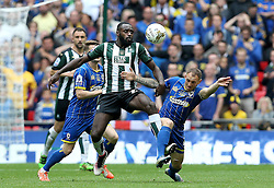 Hiram Boateng of Plymouth Argyle and Barry Fuller of AFC Wimbledon battle for possession - Mandatory by-line: Robbie Stephenson/JMP - 30/05/2016 - FOOTBALL - Wembley Stadium - London, England - AFC Wimbledon v Plymouth Argyle - Sky Bet League Two Play-off Final
