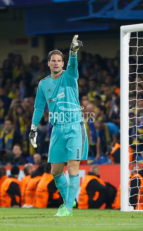 Asmir Begović organises his penalty area for a late corner kick during the Champions League match between Chelsea and Maccabi Tel Aviv at Stamford Bridge, London, England on 16 September 2015. Photo by Andy Walter.