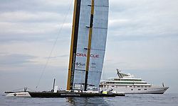 BMW Oracle and Larry Ellison's 400 feet RISING SUN<br /> Which boat is more expensive?<br /> Day one, No wind: race cancelled<br /> 2010 America's Cup, Valencia<br /> <br /> ©2010 Kaufmann/Forster go4image.com
