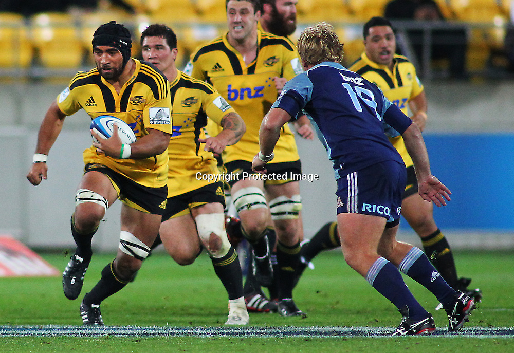 Victor Vito winds up the legs, during their Super Rugby match, Hurricanes v Blues, Westpac stadium, Wellington, New Zealand. Friday 4 May 2012.  PHOTO: Grant Down / photosport.co.nz