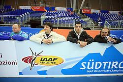 Slovenian journalists Joze Zidar, Uros Semrov, Rok Viskovic and Jurij Zavrsnik  at the afternoon warming up day before European Athletics Indoor Championships Torino 2009 (6th - 8th March), at Oval Lingotto Stadium,  Torino, Italy, on March 5, 2009. (Photo by Vid Ponikvar / Sportida)