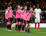 The pink line of the Scotland defence during the U21 UEFA EURO first qualifying round match between England and Scotland at the Riverside Stadium, Middlesbrough, England on 6 October 2017. Photo by Paul Thompson.
