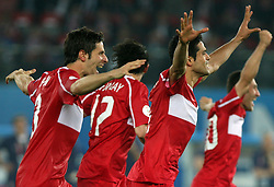 Turkish players celebrate victory after penalty shots during the UEFA EURO 2008 Quarter-Final soccer match between Croatia and Turkey at Ernst-Happel Stadium, on June 20,2008, in Wien, Austria.  Won of Turkey after penalty shots. (Photo by Vid Ponikvar / Sportal Images)