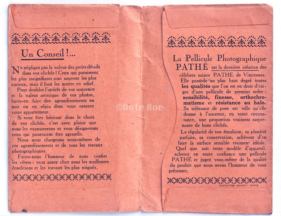 inside of a vintage Pathé film and prints envelope 1910s France