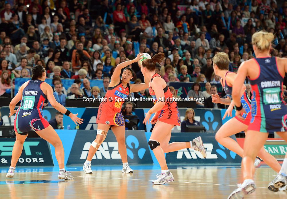Juliana Naoupu (Magic)<br /> 2012 ANZ Netball Championships / finals<br /> Melbourne Vixens vs WBOP Magic<br /> Sunday July 22nd 2012 <br /> Hisense Arena/ Melbourne Australia <br /> &copy; Sport the library / Jeff Crow