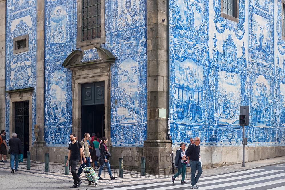 Famous azulejos Portuguese blue and white wall tiles at 18th Century Capela das Almas de Santa Catarina  - St Catherine's Chapel in Porto, Portugal