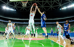 Luka Samanic of Petrol Olimpija vs Marko Pajic of Rogaska during basketball match between KK Petrol Olimpija and KK Rogaska in Round #5 of Liga Nova KBM za prvaka 2018/19, on March 31, 2019, in Arena Stozice, Ljubljana, Slovenia. Photo by Masa Kraljic / Sportida