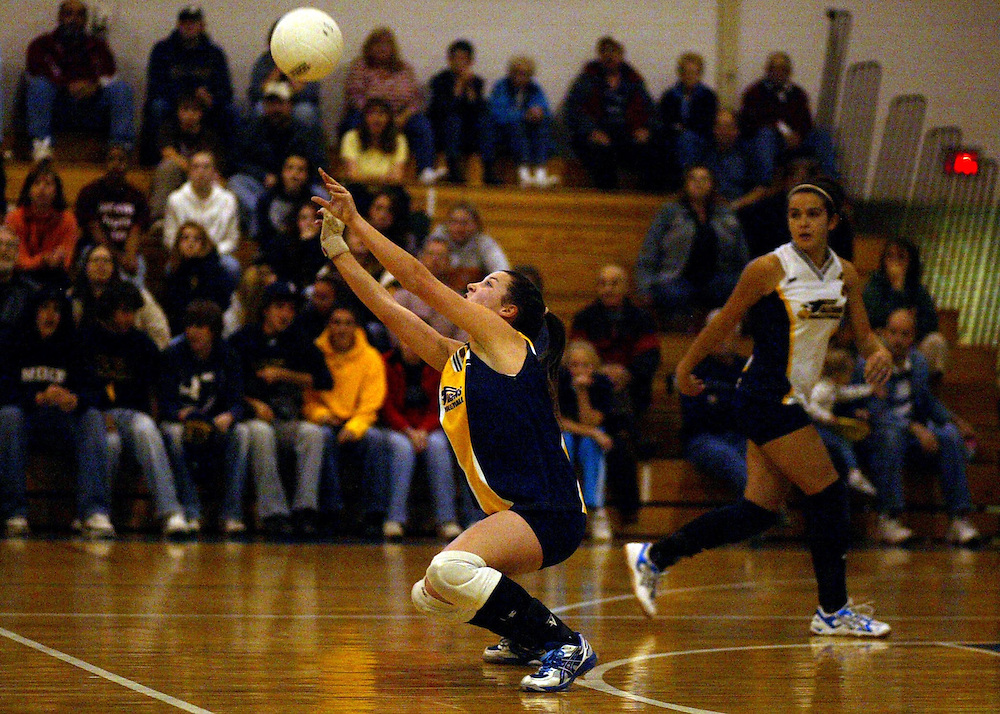 Falconer High Schools Kayleigh Milliman sets the ball during New York State Section 6 volleyball action  against Cassadaga Valley 10/30/07.