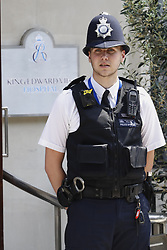 © Licensed to London News Pictures. 21/06/2017. London, UK. Police on duty outside the King Edward VII's hospital in west London where Prince Philip, The Duke of Edinburgh has ben admitted to hospital following an an infection. Photo credit: Peter Macdiarmid/LNP