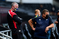 Guinness PRO14, Liberty Stadium, Swansea, UK 23/8/2020<br /> Ospreys v Dragons<br /> Dragons head coach Dean Ryan talks with Ospreys head coach Toby Booth prior to kick off<br /> Mandatory Credit ©INPHO/Ryan Hiscott