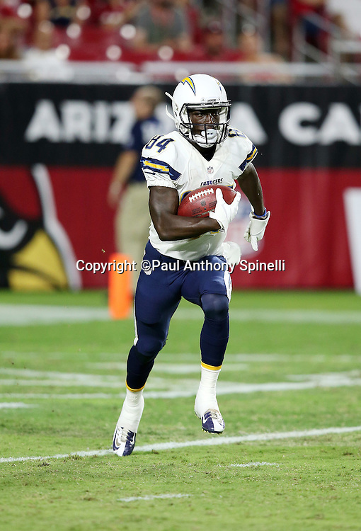 San Diego Chargers wide receiver Titus Davis (84) runs back a fourth quarter kick off during the 2015 NFL preseason football game against the Arizona Cardinals on Saturday, Aug. 22, 2015 in Glendale, Ariz. The Chargers won the game 22-19. (©Paul Anthony Spinelli)