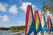 Sailboats on the beach at the Almond Bay Resort; St Lucia, The Windward Islands,<br /> The Caribbean