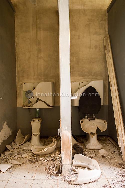 MOLOKAI, HI - Broken toilets at abandoned Ilio point coast guard station on the Pacific island of Molokai, Hawaii.