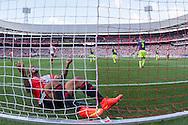 ROTTERDAM, Feyenoord - Ajax, voetbal Eredivisie, seizoen 2014-2015, 21-09-2014, Stadion de Kuip, Feyenoord speler Colin Kazim-Richards (2L) schreeuwt het uit na weer een gemiste kans voor Feyenoord.