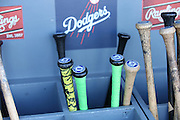 LOS ANGELES, CA - JUNE 17:  Baseball bats are stored in dugout bins during batting practice before the Los Angeles Dodgers game against the Colorado Rockies at Dodger Stadium on Tuesday, June 17, 2014 in Los Angeles, California. The Dodgers won the game 4-2. (Photo by Paul Spinelli/MLB Photos via Getty Images)